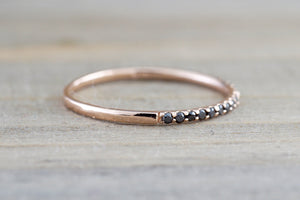 14k Rose Gold Black Micro Pave Diamond Band Ring - Brilliant Facets