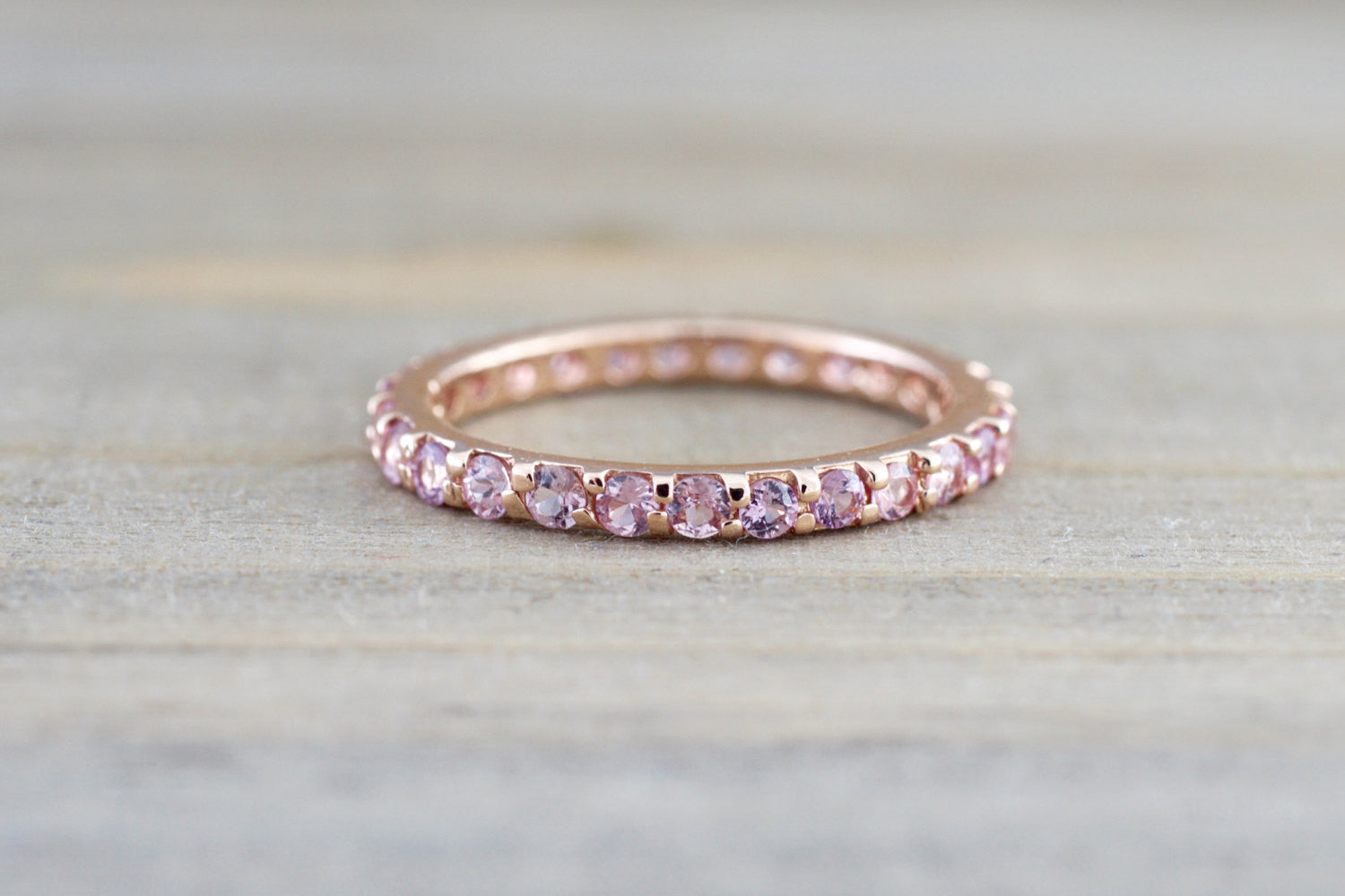 14k Rose Gold Pink Sapphire Eternity Band Ring - Brilliant Facets