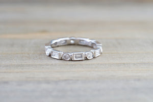 14k White Gold Brilliant Cut and Emerald Cut Diamond Eternity Band with Milgrain Stacking Stackable - Brilliant Facets