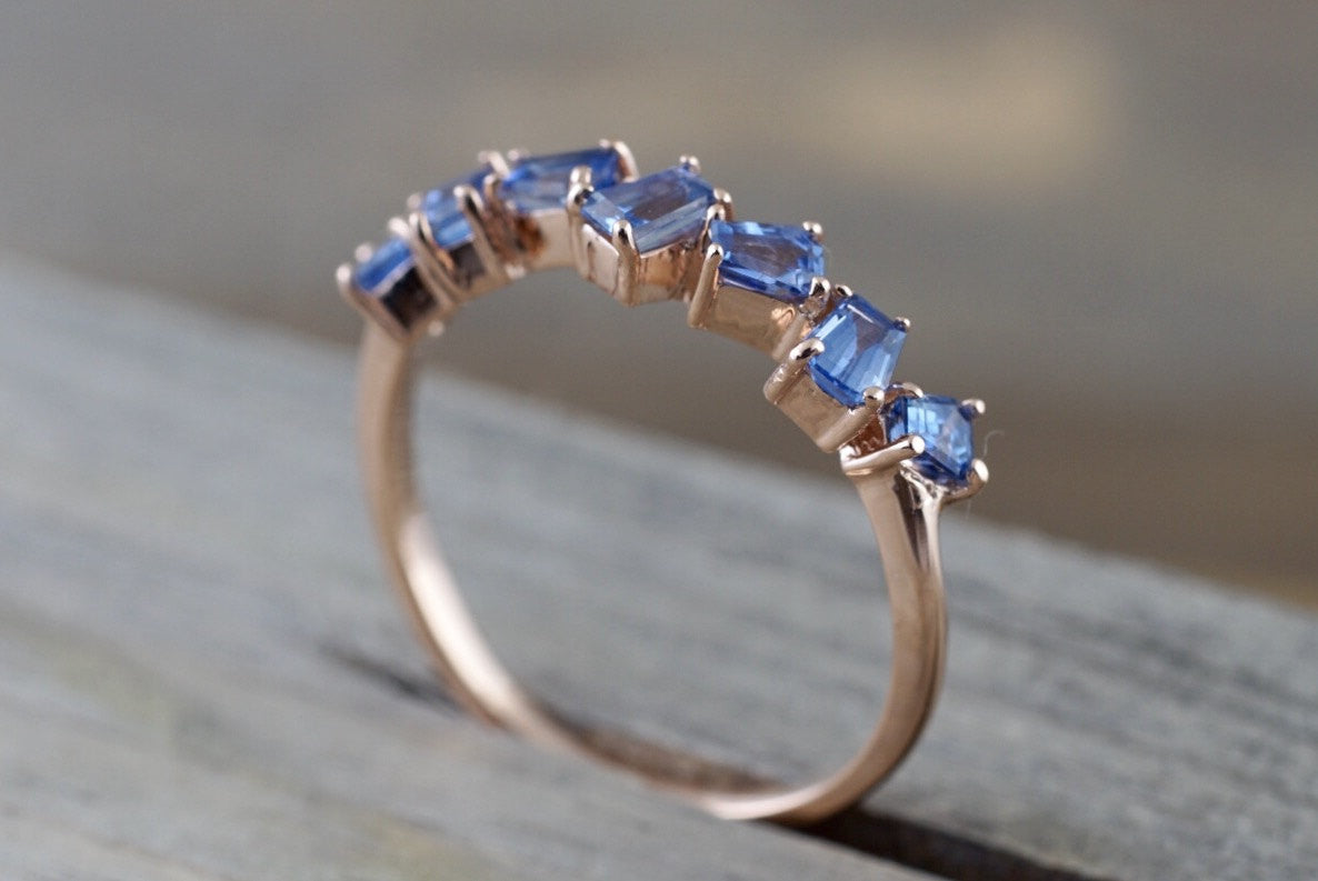 14k Rose Gold Ceylon Sapphire Baguette Stackable Design Ring Staggered Band - Brilliant Facets