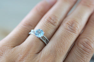14k White Gold Round Cut Aquamarine Vintage Filigree Engagement Promise Ring Rope