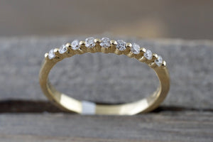 14k Yellow Gold Diamond Stackable Band Engagement Promise Ring Love Bead Single Prong