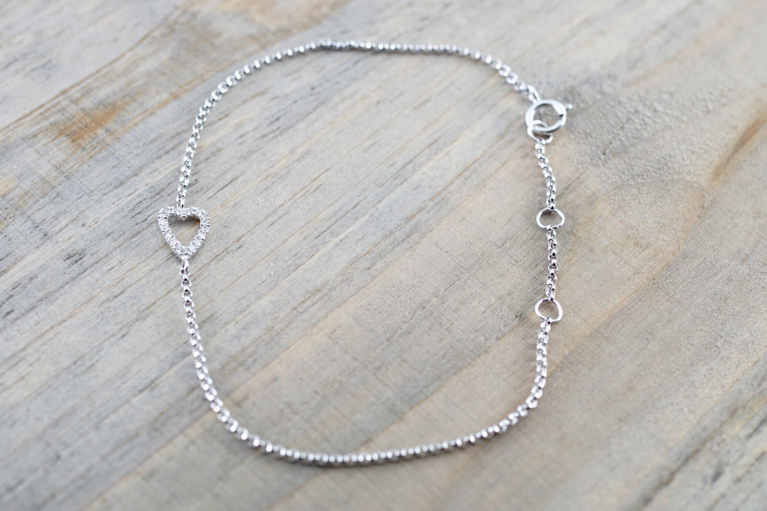 14k Solid White Open Heart Silhouette Micro Pave Bracelet - Brilliant Facets
