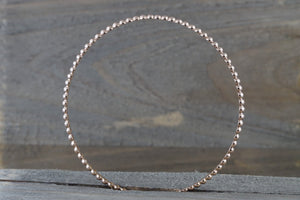 14k Solid Rose Gold Bead Dot Charm Bracelet Dainty Love Gift Fashion Open Cuff Bangle - Brilliant Facets