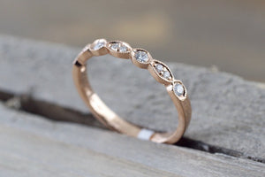 14k Rose Gold Dainty Diamond Milgrain Band Wedding Anniversary Love Ring Band Vintage Thin - Brilliant Facets