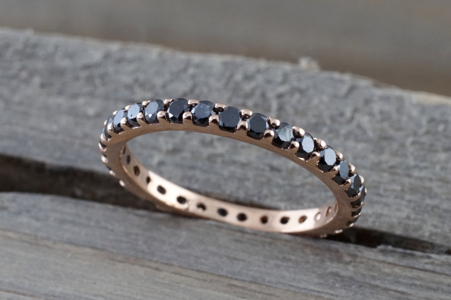 14k Rose Gold Eternity Black Diamond Full Eternity Band Ring Engagement Wedding - Brilliant Facets