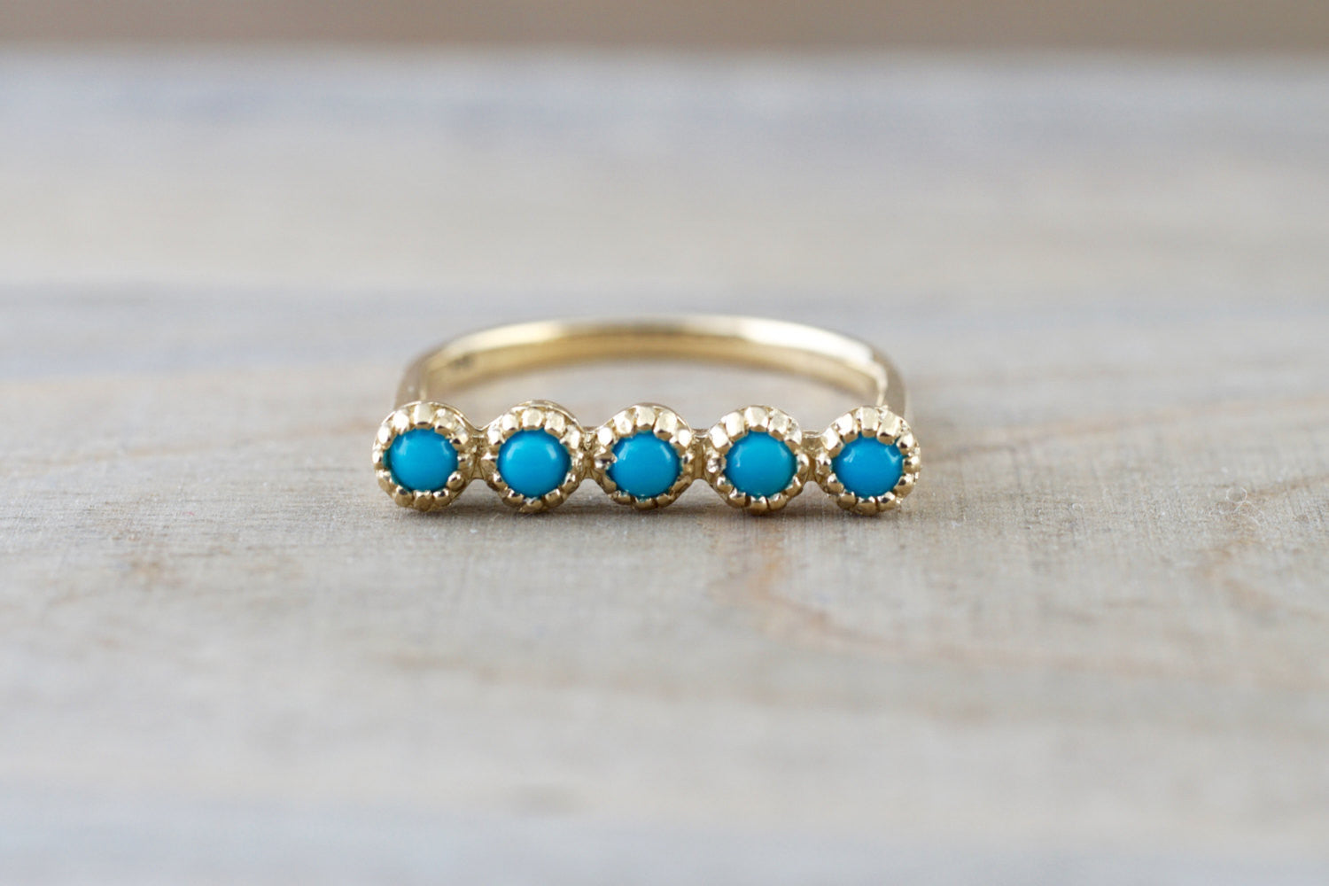 14k Yellow Gold Blue Turquoise Milgrain Stackable Ring