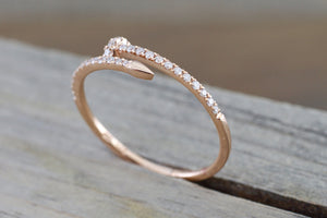 14k Solid Rose Gold Diamond Nail Fashion Ring Band Dainty Stackable Stacking - Brilliant Facets