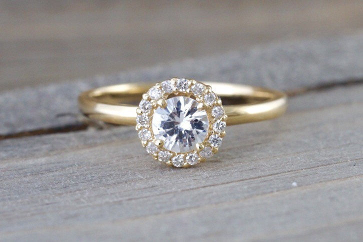 14k Yellow Gold Round White Topaz Diamond Halo Engagement Ring Crown Vintage 5mm
