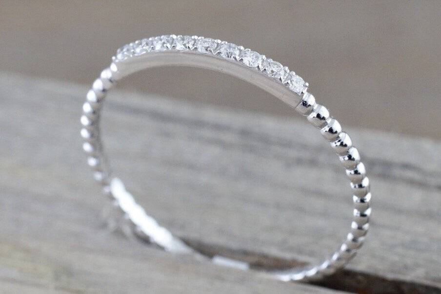 14 Karat White Gold Dainty Diamond Bead Band Ring - Brilliant Facets
