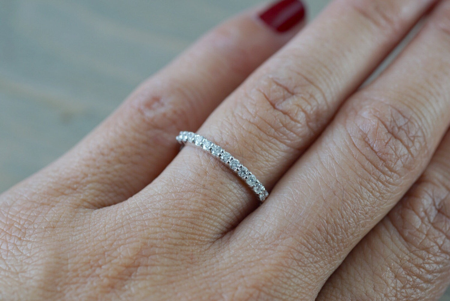 14 Karat White Gold Dainty Diamond Band Wedding Anniversary Love Ring Band Vintage Thin - Brilliant Facets
