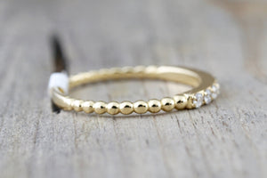 14 Karat Yellow Gold Dainty Round Cut Diamond Bead Band Wedding Anniversary Love Ring - Brilliant Facets