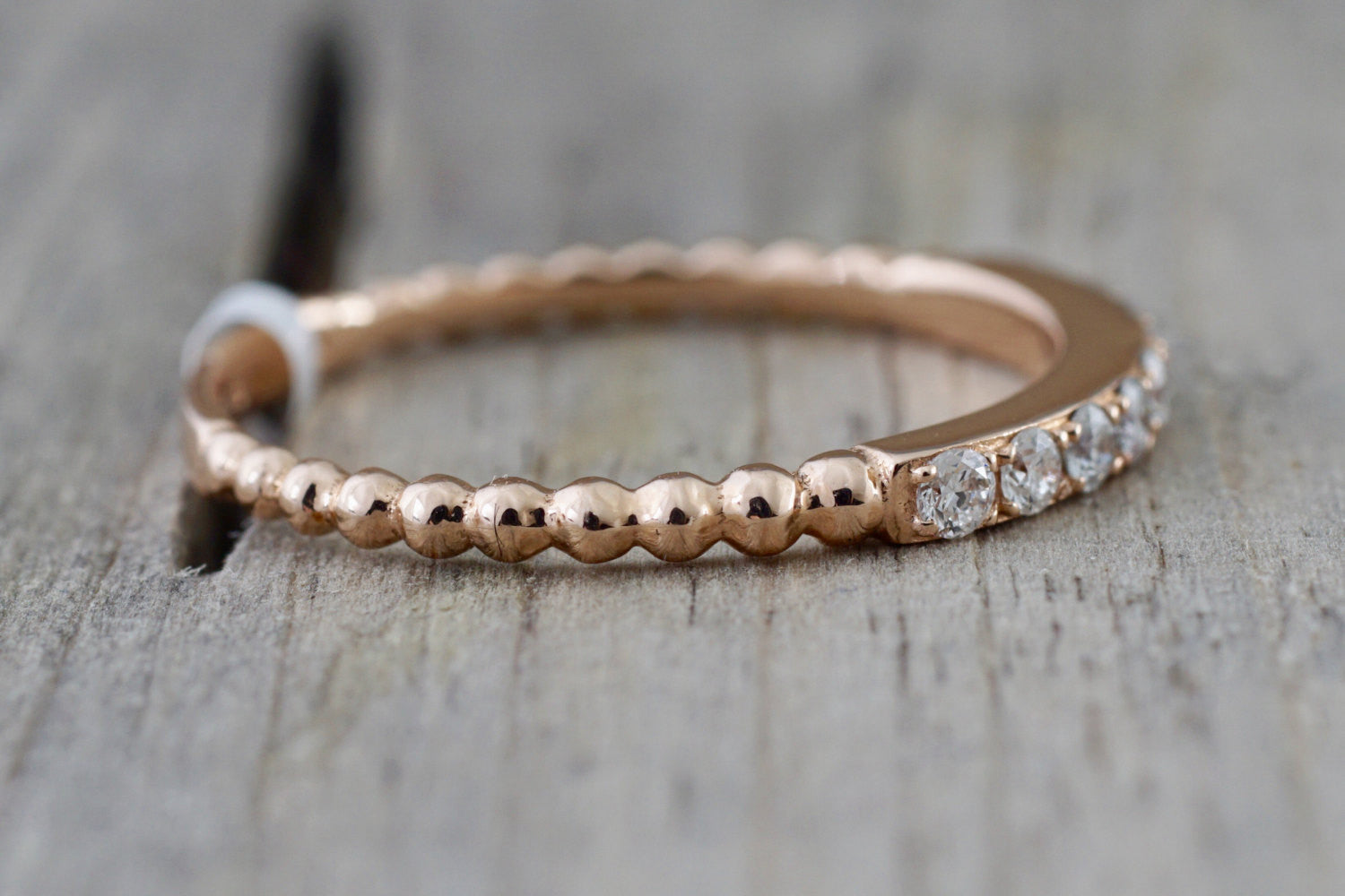 14k Rose Gold Diamond Bead Band Ring Band Stacking - Brilliant Facets