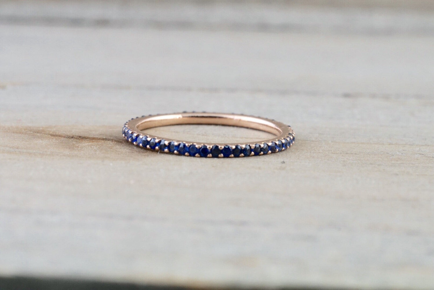 14k Rose Gold Blue Sapphire Dainty Thin Full Eternity Band Wedding