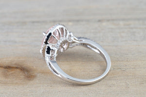 18k White Gold Oval Pink Peach Morganite Diamond Halo Twist Shank Engagement Promise Wedding Anniversary Ring 11x9 RWMTA119