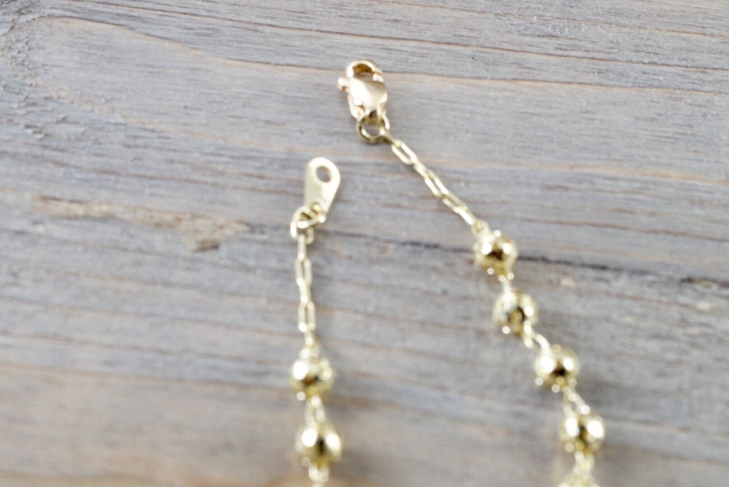 14k Yellow Gold Bead Ball Diamond Cut Charm Rosetta Cross Charm Bracelet Dainty Love Gift Fashion