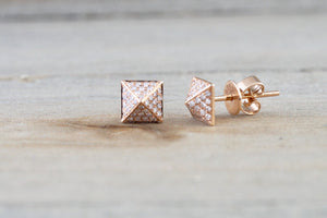 14k Rose Gold Diamond Pave Pyramid Triangle Stud Earring Stud 3d Point Fashion Earrings - Brilliant Facets