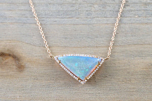 14k Rose Gold Triangle Blue Greenish Fire Opal Diamond Pave Halo Pendant adjustable Chain Necklace - Brilliant Facets