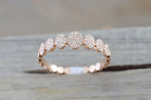 14kt Rose Gold Pave Oval Diamond Band Ring Band RR010088