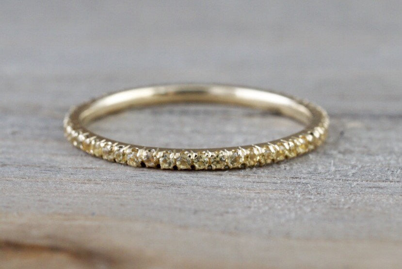 14k Yellow Gold Yellow Sapphire Dainty Thin Eternity Band Anniversary Engagement Stackable Ring