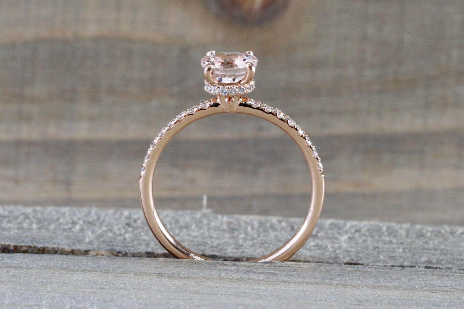 14k Rose Gold Dainty Round Morganite With Round Cut Diamonds Ring - Brilliant Facets
