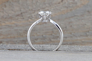 18kt White Gold Solitaire 6.5mm Cushion Brilliant Forever Moissanite Diamond Engagement Ring