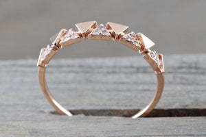 14k Rose Gold Infinity Twist Arrow Crossover Triangle Diamond Engagement Band Brilliant Cut - Brilliant Facets