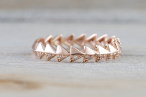 14k Rose Gold Infinity Twist Arrow Crossover Triangle Diamond Engagement Band ZigZag - Brilliant Facets