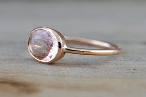 Oval Morganite 14k Rose Gold Bezel Birthstone Gemstone Stackable Ring Sidways East West