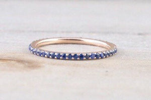 14k Rose Gold Blue Sapphire Dainty Thin Full Eternity Band Wedding Stackable Ring - Brilliant Facets