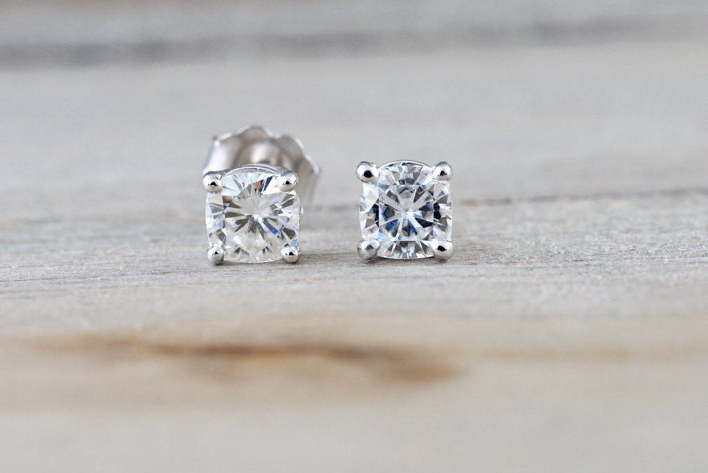14kt White Gold Cushion Forever One Moissanite Earring Studs Post Classic Stud