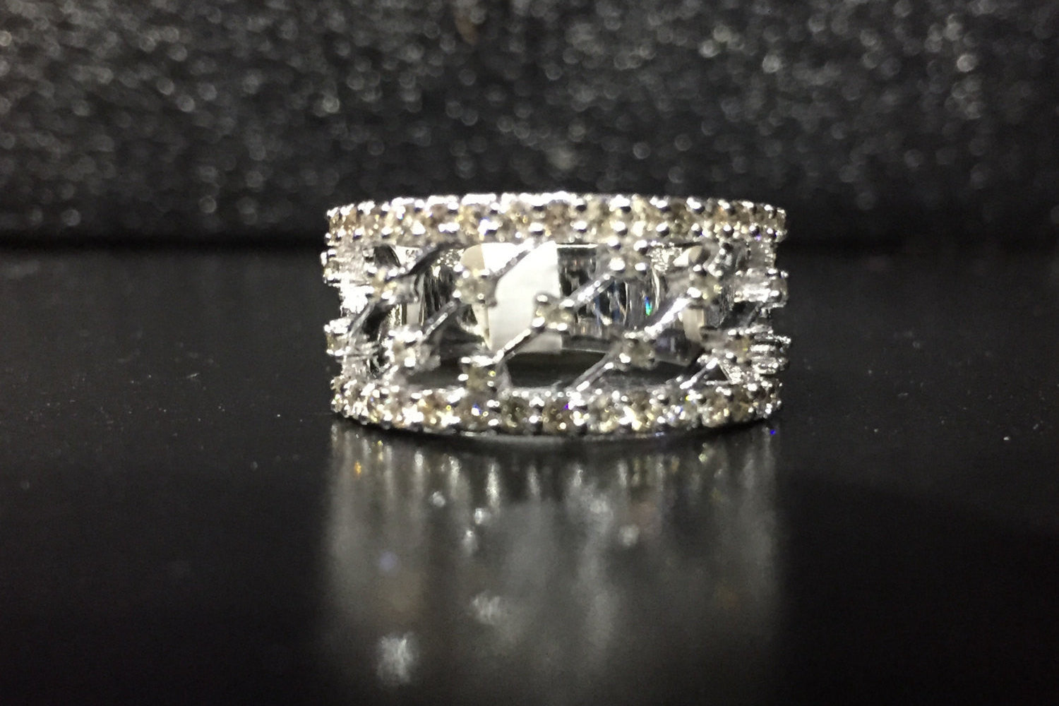 14kt White Gold Diamond Ring Wide Vintage Antique Art Deco Style