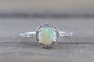 14k White Gold Round Fire Opal Diamond Halo Ring