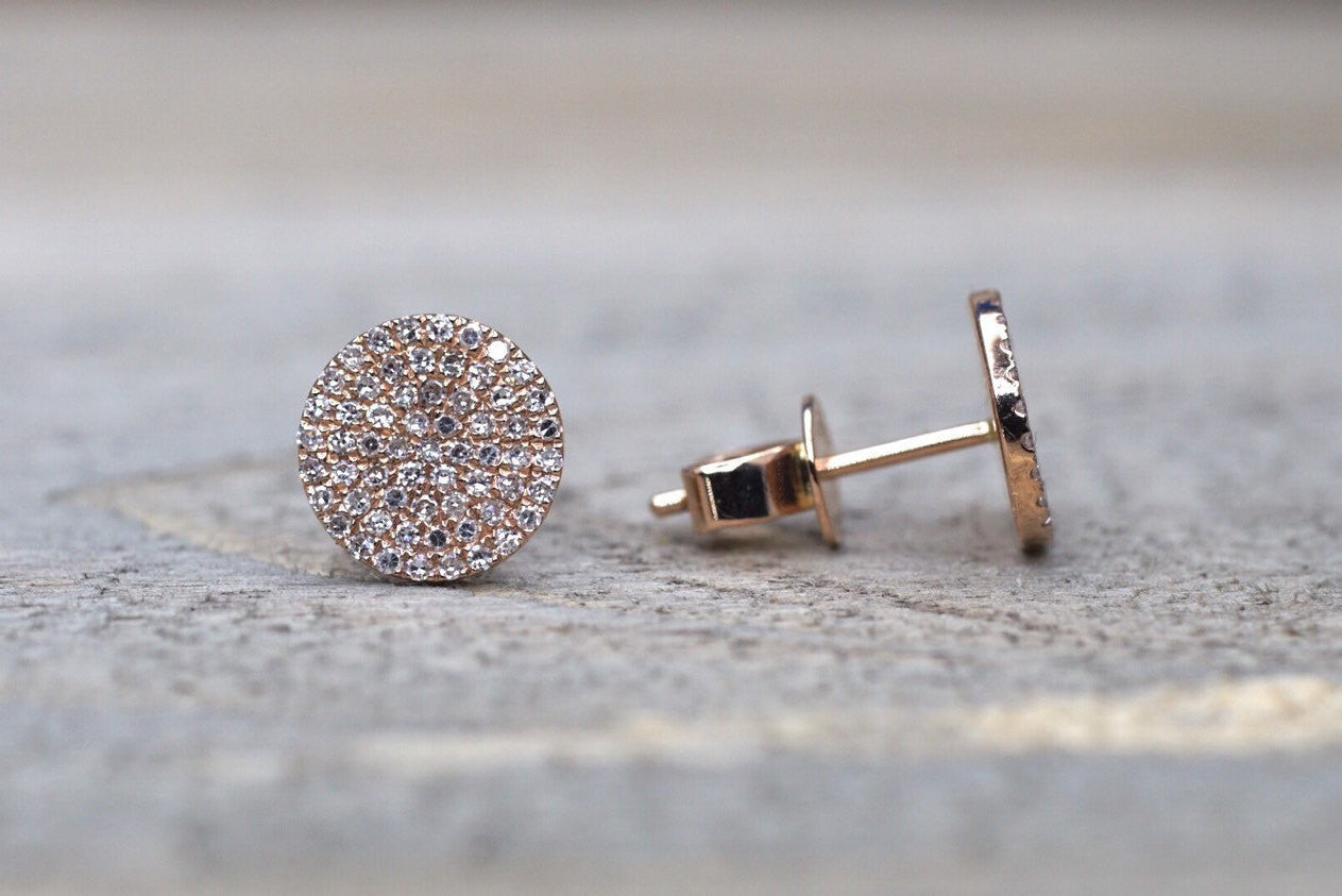 14k Rose Gold Pave Set Diamond Disk Disc Circle Round Stud Earring Post Micro - Brilliant Facets