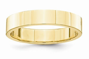 14kt Solid Gold Flat Bridal Engagement Wedding Band 4mm Width
