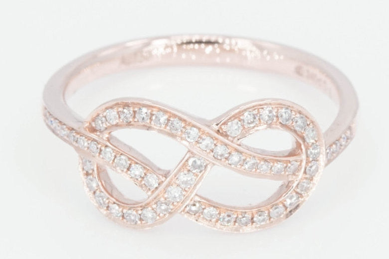 18k Rose Gold Diamond Infinity Intertwined Twist Love knot Love Band Promise Ring