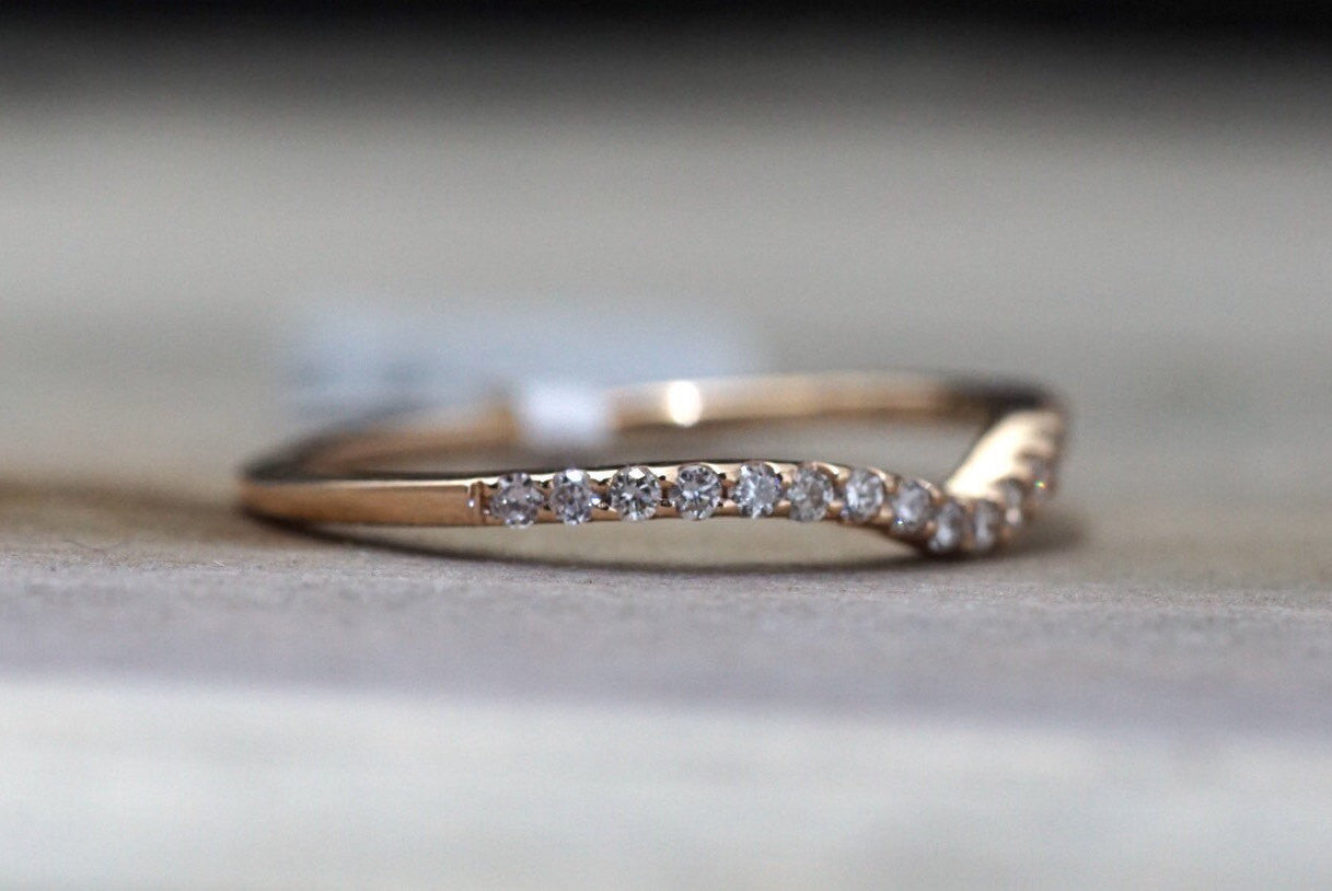 14k Rose Gold V Groove Curve Dainty Thin Diamond Wedding Engagement Band Brilliant Cut Ring - Brilliant Facets