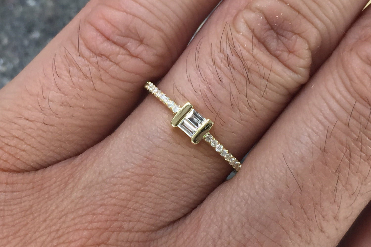 18k Yellow Gold Diamond Engagement Band Brilliant Cut Thin Dainty Emerald Baguette
