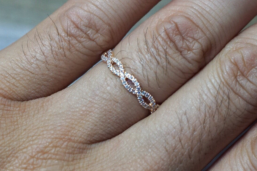 14k Rose Gold Infinity Forever Eternity Crossover Vine Vintage Diamond Engagement Band Stackable - Brilliant Facets