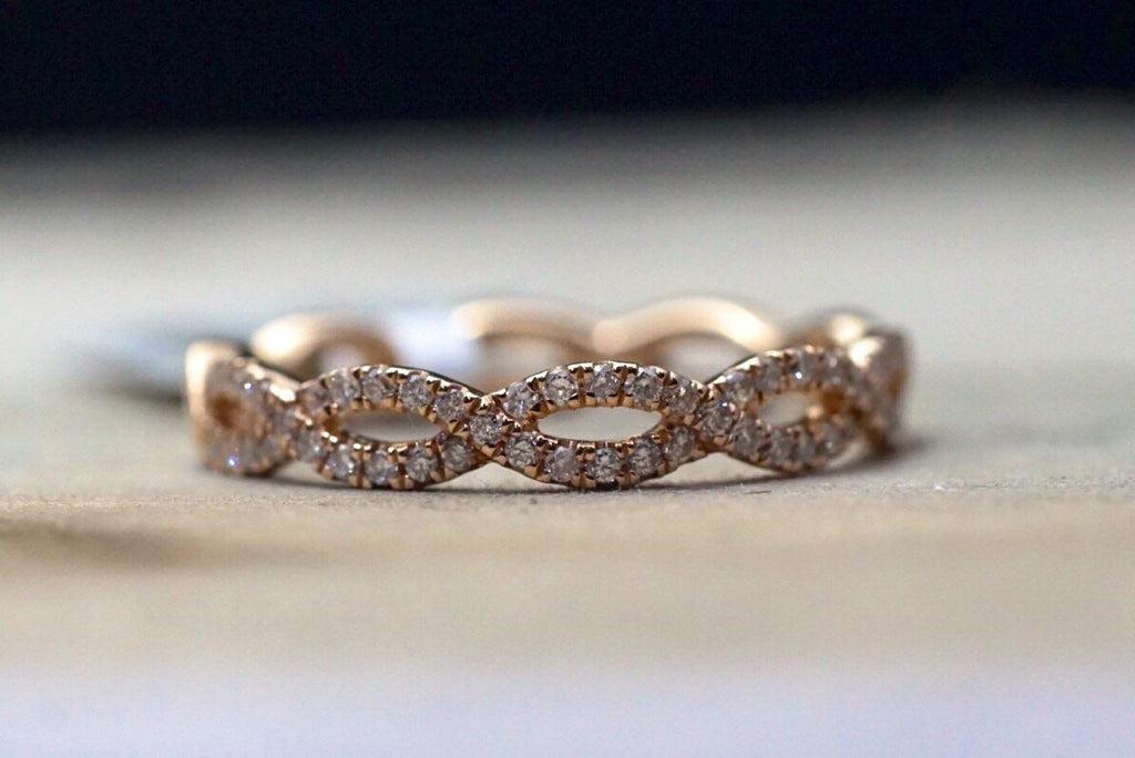 14k Rose Gold Crossover Vine Vintage Diamond Engagement Band Brilliant Cut - Brilliant Facets