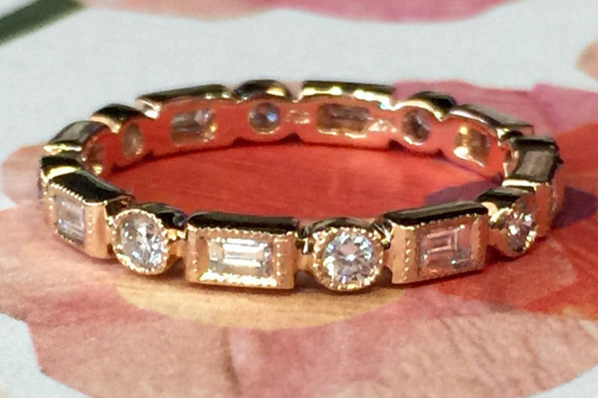 14k Rose Gold Brilliant Cut and Emerald Cut Diamond Eternity Band with Milgrain - Brilliant Facets