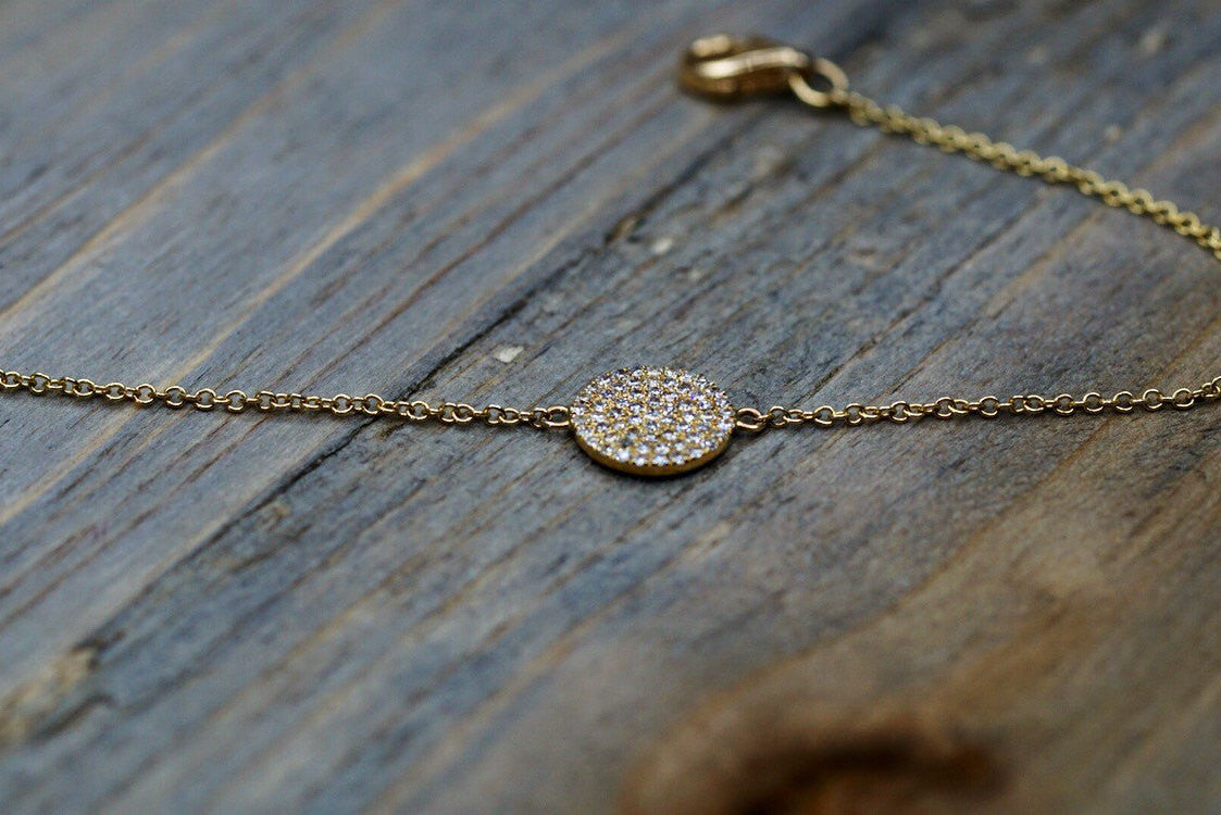 14k Solid Yellow Gold Round Circle Disk Pave Diamond Bracelet Dainty - Brilliant Facets