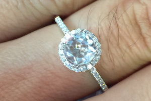 18k White Gold Round White Topaz Halo Diamond Engagement Promise Ring Anniversary