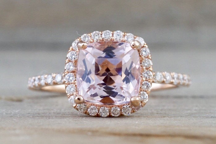 14k Rose Gold Cushion Morganite Diamond Halo Engagement Ring Crown Diamonds - Brilliant Facets