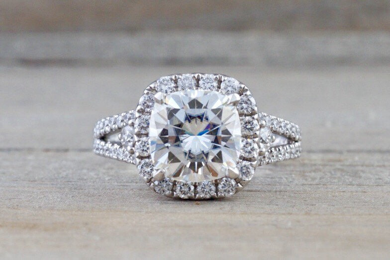 14kt White Gold Diamond Halo Cushion Moissanite Diamond Engagement Ring 8.5mm