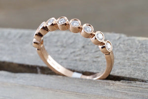 14k Rose Gold Diamond Vintage Milgrain Bezel Full Eternity Band Ring Wedding Engagement - Brilliant Facets