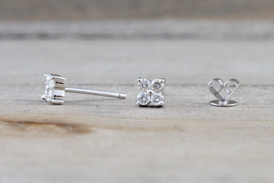 14k White Gold Diamond Clover Flower Earring Studs Stud - Brilliant Facets