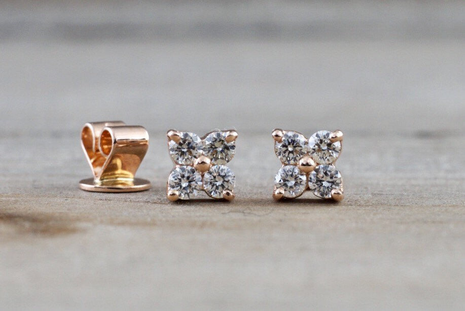 14k Rose Gold 4 Diamond Flower Clover Earring Studs Stud - Brilliant Facets