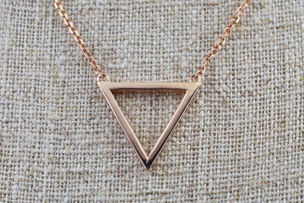 14k Rose Gold Open Triangle Pendant Necklace - Brilliant Facets