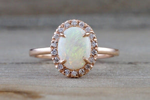 14k Rose Gold Oval Fire Opal Diamond Halo Love Ring Art Deco Vintage - Brilliant Facets